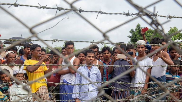 Rohingya refugees near the the 'no man's land' zone between Myanmar and Bangladesh in August 2018