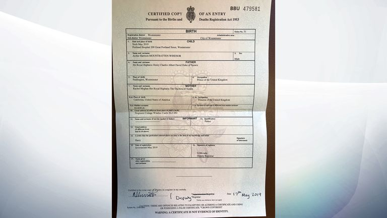 The birth certificate of Archie Harrison Mountbatten-Windsor