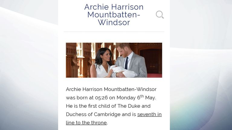 The picture on Archie's page was correct - but the titles of his parents were not