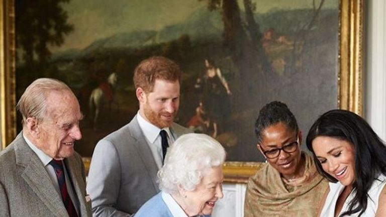 Archie meets his royal relatives. Pic: @royalfamily