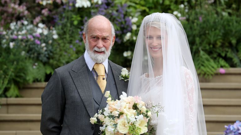 Lady Gabriella Windsor with her father Prince Michael of Kent for her wedding to Mr Thomas Kingston at St George's Chapel in Windsor
