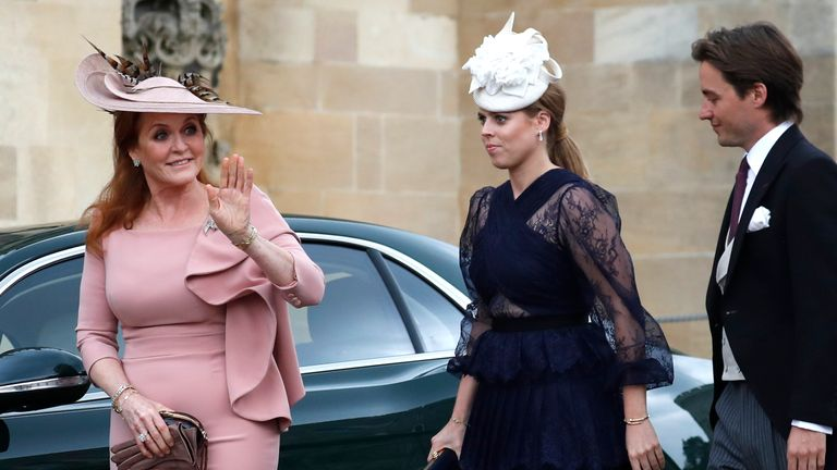 Sarah Ferguson, Duchess of York, Princess Beatrice of York and Edoardo Mapelli Mozzi