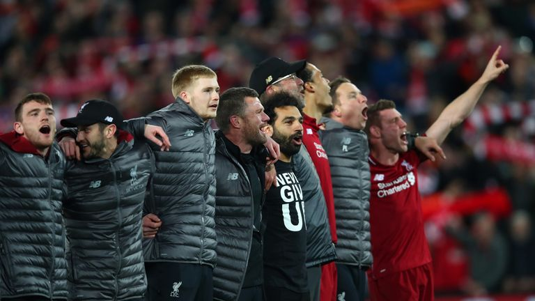 Mohamed Salah of Liverpool and team mates celebrate after the UEFA Champions League Semi Final second leg match