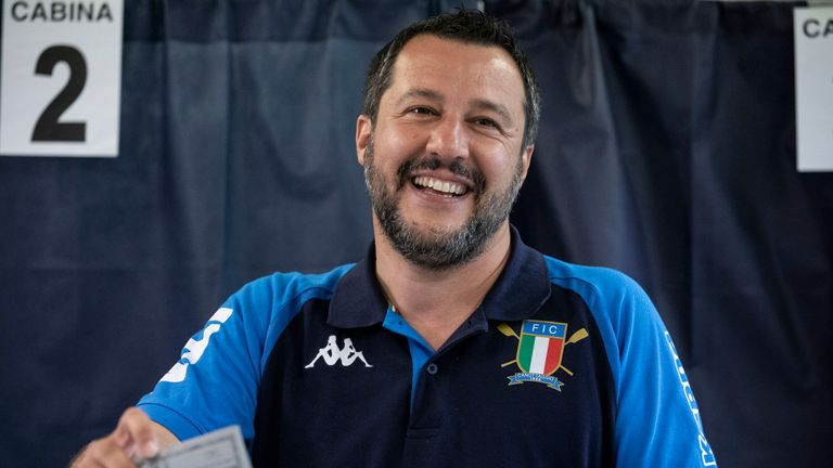 Matteo Salvini casting his ballot at the European elections