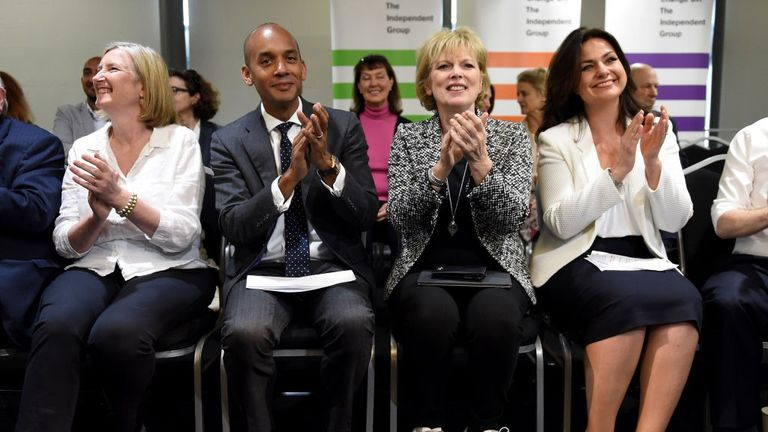 From left: Change UK members Sarah Wollaston, Chuka Umunna, Anna Soubry and Heidi Allen