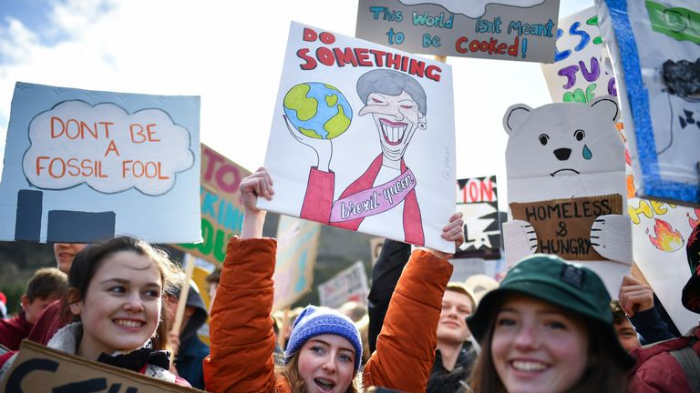 School children across the UK went on strike over climate change in February