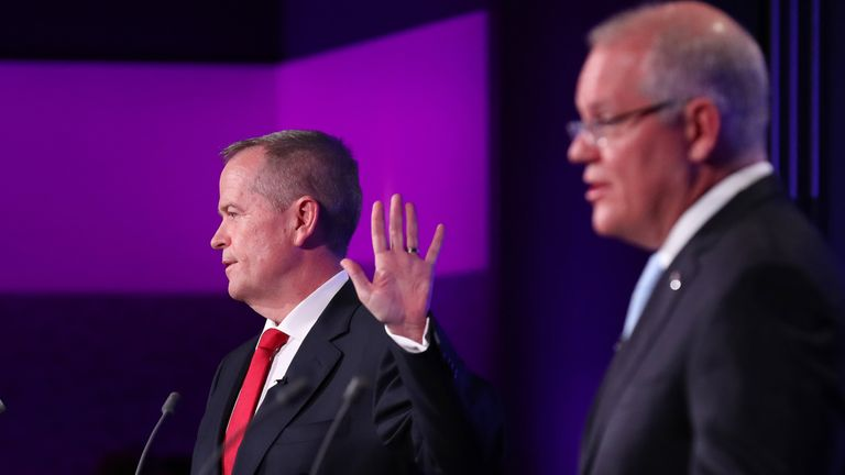 PM Scott Morrison and Labor leader Bill Shorten taking part in 'The Leaders' Debate'