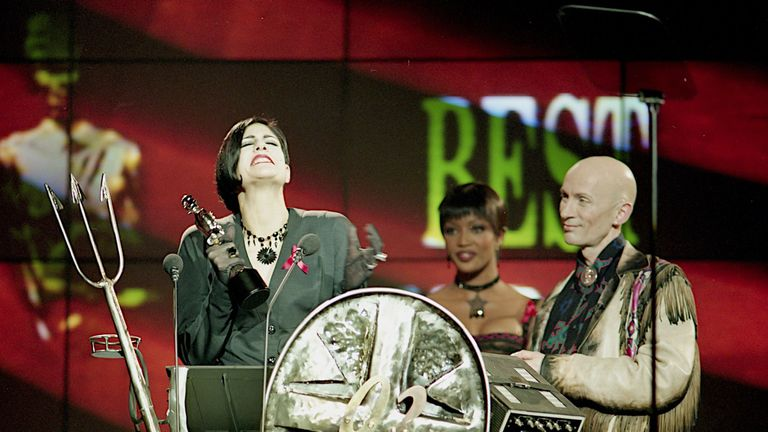 Shakespears Sister's Marcella Detroit accepts the Brit award for best video for Stay in 1992
