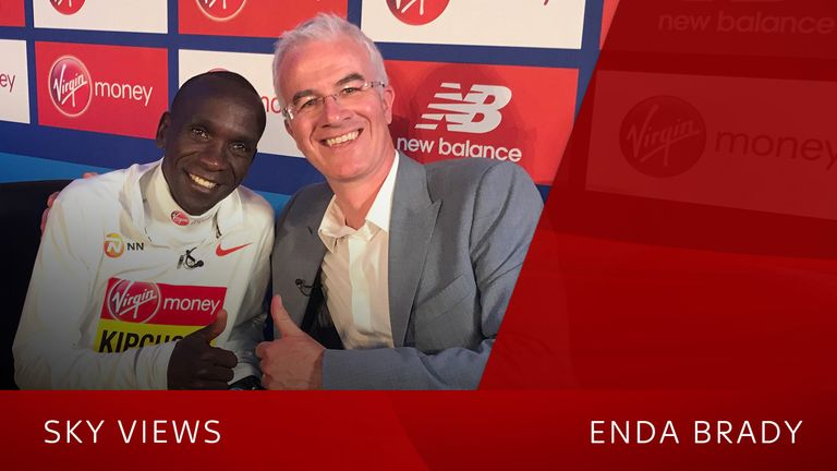 Eliud Kipchoge and Enda Brady