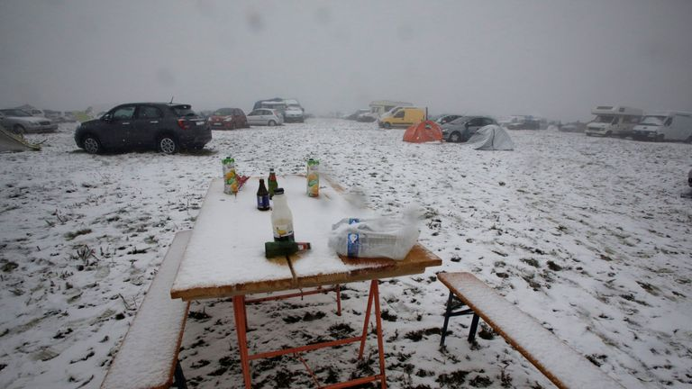 Snow fell during the festival