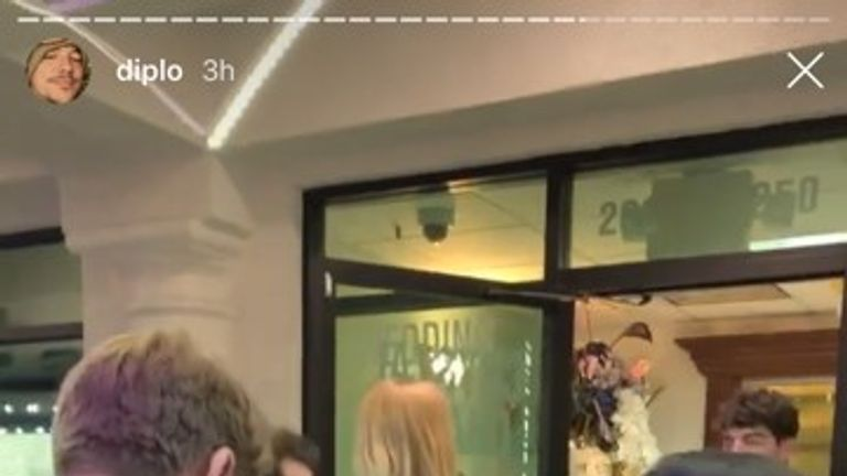 Diplo posted footage of Sophie Turner and Joe Jonas apparently getting married on his Instagram account. Pic: @diplo