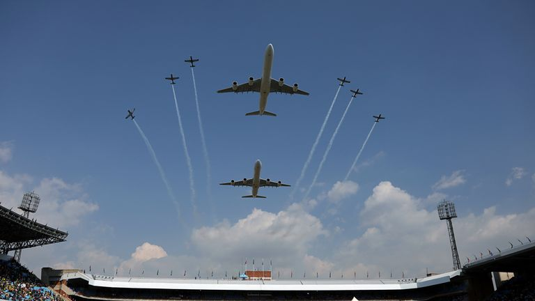Aircraft fly past during South Africa President Cyril Ramaphosa's inauguration