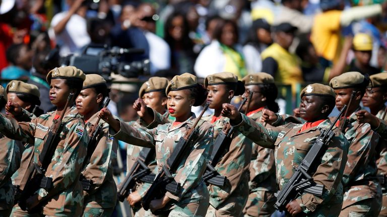 Soldiers parade at the inauguation of Cyril Ramaphosa