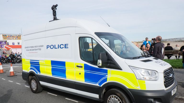 A facial recognition van by South Wales Police
