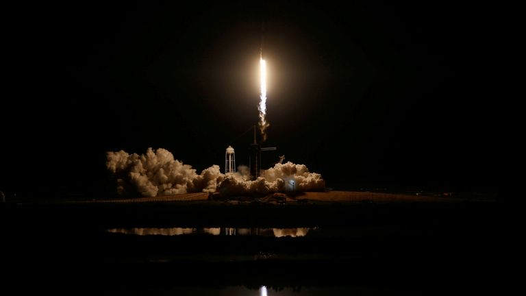 FILE PHOTO: SpaceX Falcon 9 rocket lifts off to ISS from Kennedy Space Center