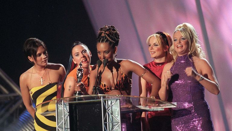 The Spice Girls at the Brit Awards in 1998