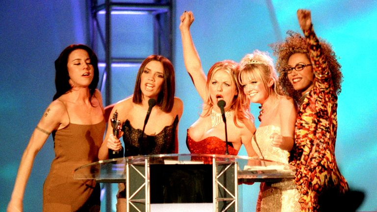 The Spice Girls at The Brits in 1997