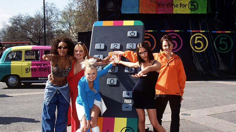 The Spice Girls launch Channel 5 in 1997
