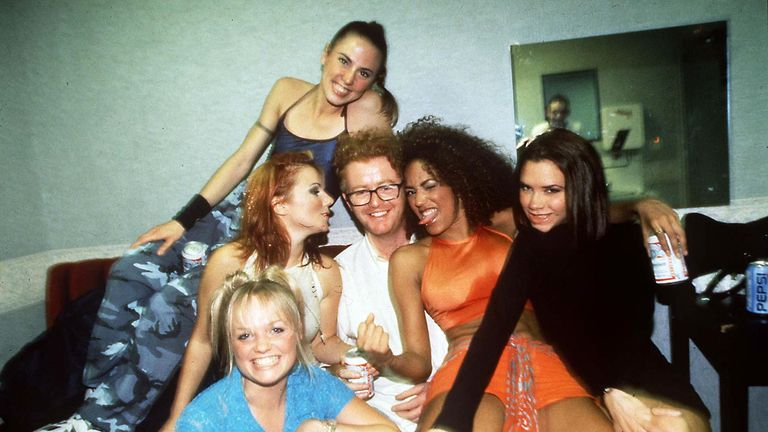 The Spice Girls and Chris Evans in 1996