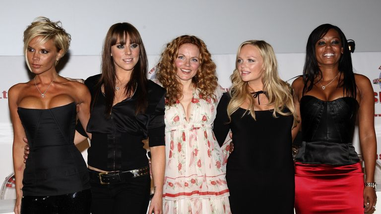 Victoria Beckham, Melanie C, Geri Halliwell, Emma Bunton, and Mel B of Spice Girls attending news conference to make a 'Big Announcement' With Regards To A World Tour And Album at O2 Arena on June 28, 2007 in London, England