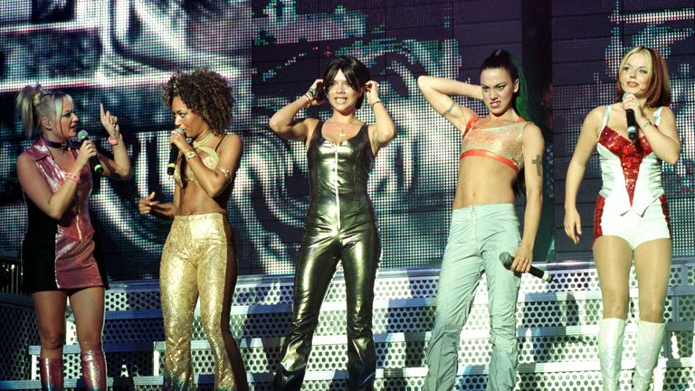 The Spice Girls perform on stage in Dublin in 1998. The show was the first date of their world tour.