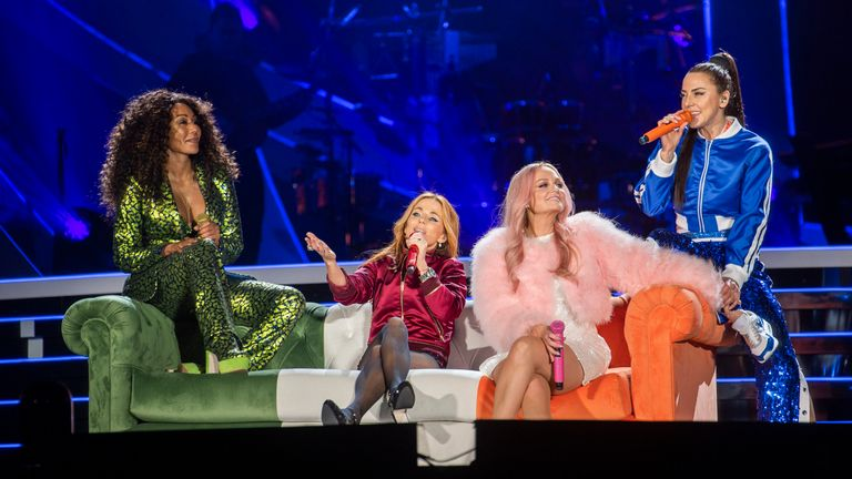 The Spice Girls at their first 2019 reunion gig in Dublin. Pic: Andrew Timms/PA Wire