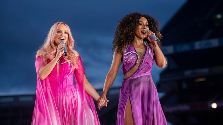 Spice Girls Emma Bunton and Melanie Brown at their first reunion gig in Dublin. Pic: Andrew Timms/PA Wire