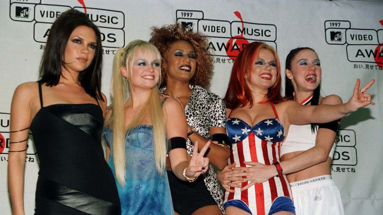 The Spice Girls, pose at the 1997 MTV Video Music Awards at Radio City Music Hall in New York. Winning the Best Dance Video award for 'Wannabe,' they dedicated their award to Princess Diana who died in a car crash less than a week earlier