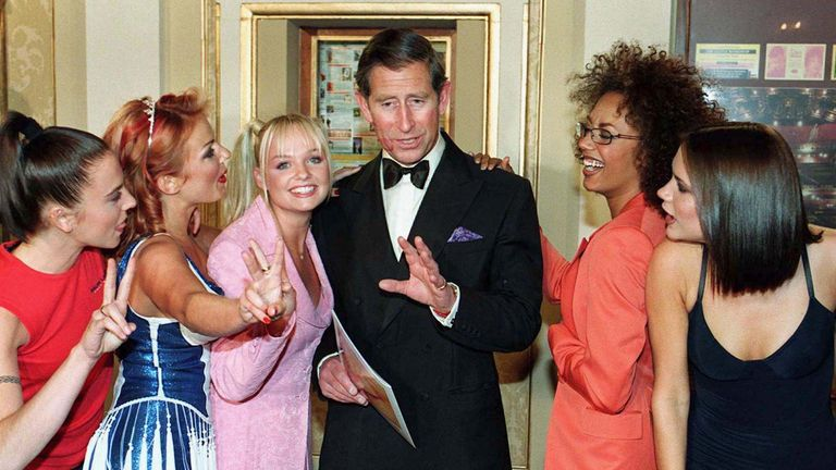 prince Charles meets The Spice Girls at a royal gala in Manchester in 1997. Prince Charles impressed onlookers by knowing each of the girls nicknames, before they planted kisses on his cheeks.