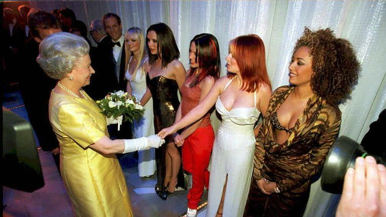 The Queen meets the The Spice Girls after the Royal Variety Performance in the Victoria Palace Theatre in 1997.