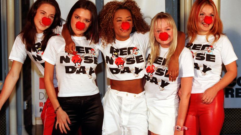 Spice Girls Red Nose Day 1997. Pic: Alex Lentati/Evening Standard/Rex/Shutterstock
