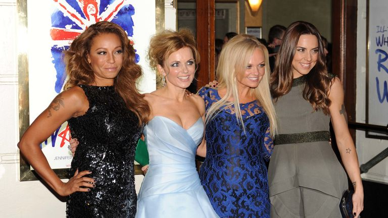Melanie Brown, Emma Bunton, Geri Halliwell and Melanie Chisholm attend the press night of 'Viva Forever', a musical based on the music of The Spice Girls at Piccadilly Theatre on December 11, 2012 in London, England. (Photo by Stuart Wilson/Getty Images)