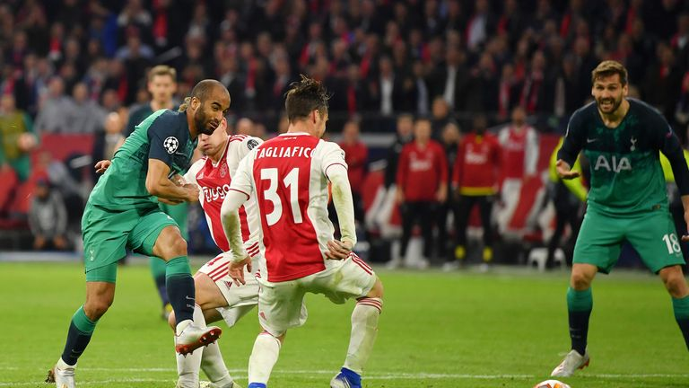 Lucas Moura fires home his and Spurs' third of the night to take Tottenham into the Champions League final