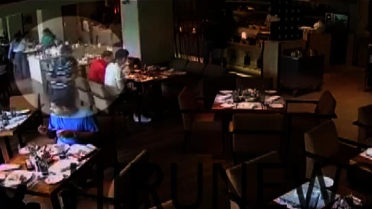 New CCTV emerges showing Abdul Latheef Mohamed Jameel failing to detonate his device as he walks around the breakfast bar in a luxury Colombo hotel