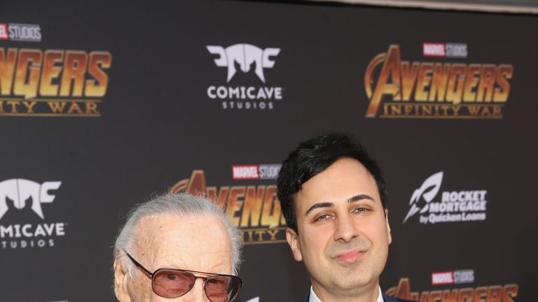 Stan Lee's former manager Keya Morgan (R) has been charged with elder abuse