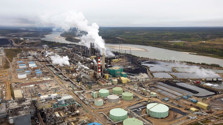 The Suncor tar sands processing plant near the Athabasca River at their mining operations near Fort McMurray, Alberta, September 17, 2014.