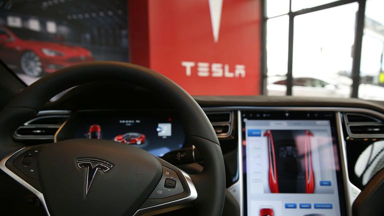The inside of a Tesla vehicle. File pic