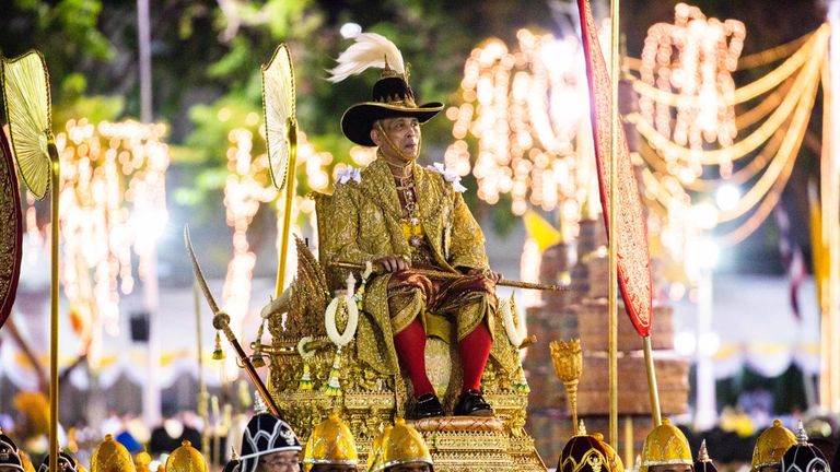 BANGKOK, THAILAND - MAY 05: King Maha Vajiralongkorn takes part in the Royal Land Procession on the day following his coronation as King Rama X on May 5, 2019 in Bangkok, Thailand. Thailand held its first coronation for the first time in nearly seven decades as King Maha Vajiralongkorn, also known as Rama X, was crowned on Saturday following an extended mourning period for King Bhumibol Adulyadej, who died in October 2016 at the age of 88. The elaborate three-day ceremony reportedly cost around