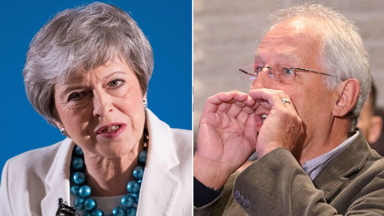 Theresa May was heckled before she could begin her speech at the Welsh Tory conference