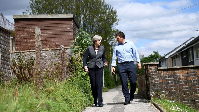 Theresa May with Johnny Mercer in his Plymouth Moor View constituency