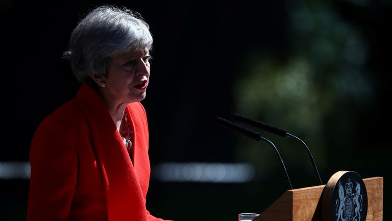 British Prime Minister Theresa May makes a statement, at Downing Street in London, Britain, May 24, 2019