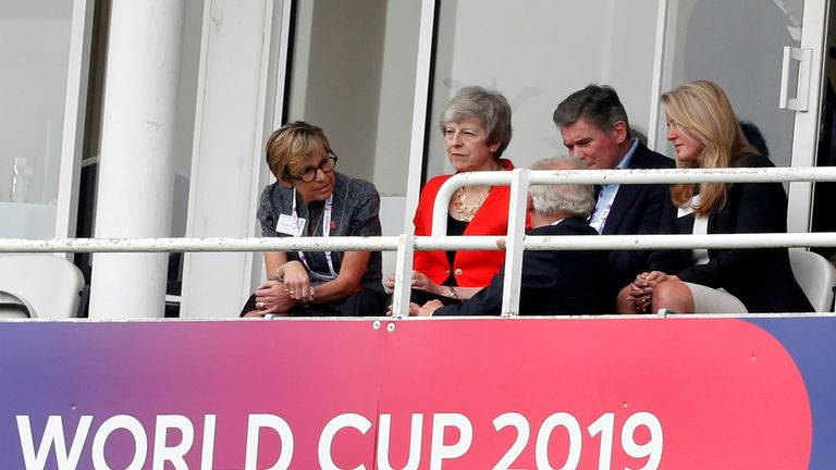 Theresa May has also attended the match in south London
