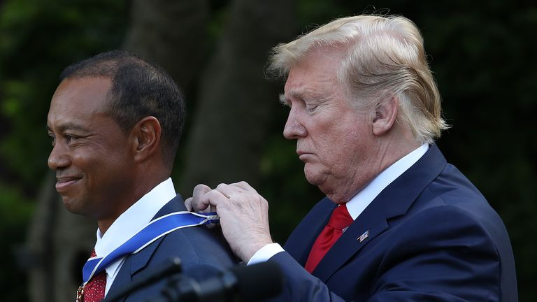 President Trump presents professional Tiger Woods with the Medal of Freedom