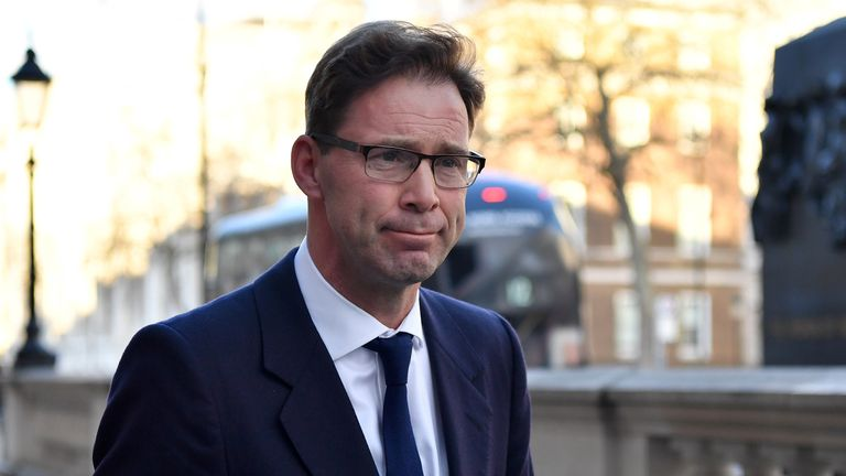 Conservative MP Tobias Ellwood arrives at the Cabinet Office on Whitehall