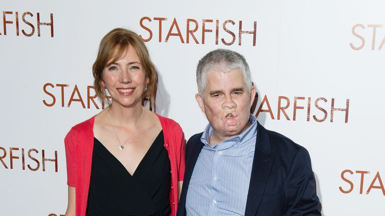 Tom Ray with his wife Nicola at the premier of the film Starfish