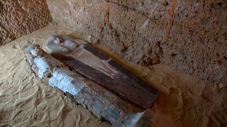 Sarcophagi are seen inside a burial shaft at the Giza pyramid plateau, on the southwestern outskirts of the Egyptian capital Cairo, on May 4, 2019, following the discovery of several Old Kingdom tombs and burial shafts. (Photo by MAHMOUD KHALED / AFP) (Photo credit should read MAHMOUD KHALED/AFP/Getty Images)