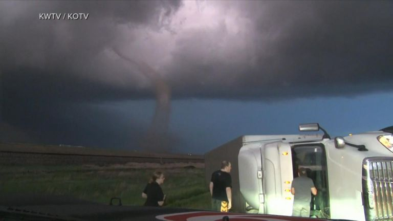 The threat for severe weather stretches from Texas to Iowa