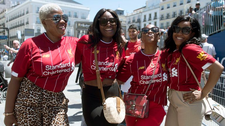 Liverpool fans in Puerta del Sol square in Madrid on Friday