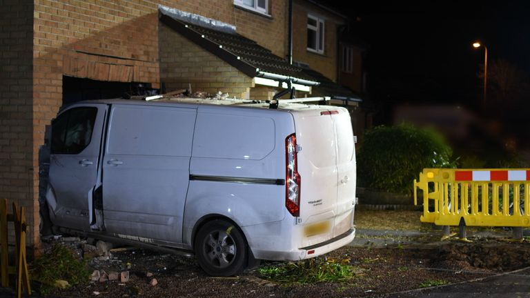 Avon and Somerset Police handout photo of a van driven by Tracy Bibby, which crashed into a house killing a 90-year-old Joan Woodier.