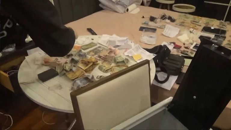 Turkish police also found cash and electronic devices during their raids